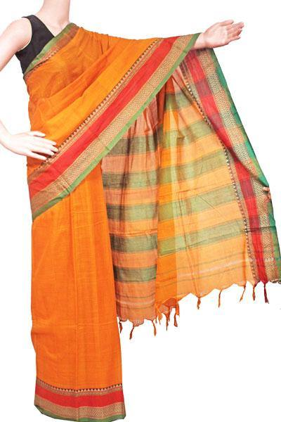 Narayanpet handloom cotton saree with an attached blouse material (71103A)