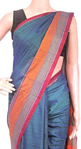 Narayanpet handloom cotton saree with an attached blouse material (71104A)