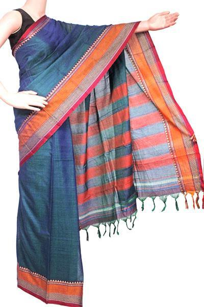 Narayanpet handloom cotton saree with an attached blouse material (71104A), Sarees - Swadeshi Boutique