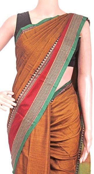Narayanpet handloom cotton saree with an attached blouse material (71105A), Sarees - Swadeshi Boutique