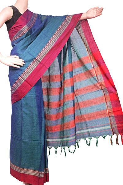 Narayanpet handloom cotton saree with an attached blouse material (71106A)