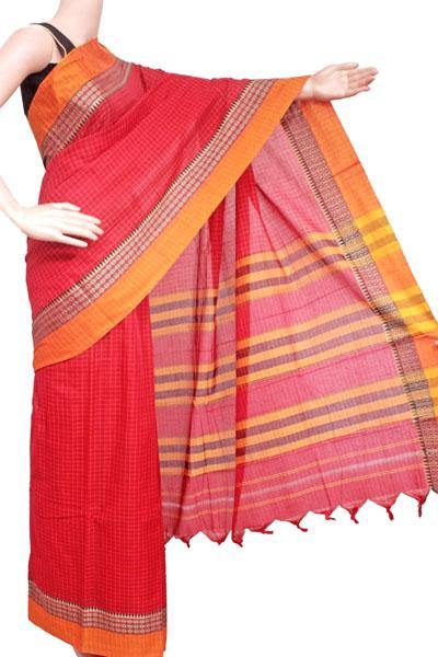 Narayanpet handloom cotton saree with an attached blouse material (71107A), Sarees - Swadeshi Boutique