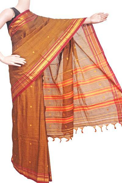 Narayanpet handloom cotton saree with butta and an attached blouse material (71110A), Sarees - Swadeshi Boutique