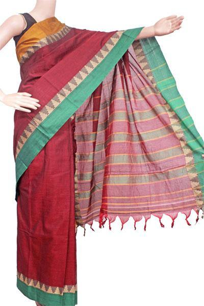 Narayanpet handloom cotton saree with an attached blouse material (71111A), Sarees - Swadeshi Boutique