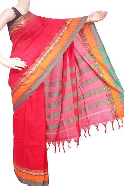Narayanpet handloom cotton saree with an attached blouse material (71112A), Sarees - Swadeshi Boutique