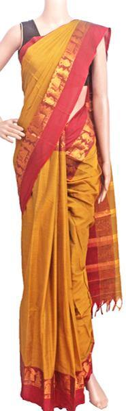 Narayanpet handloom cotton saree with an attached blouse material (71115A), Sarees - Swadeshi Boutique