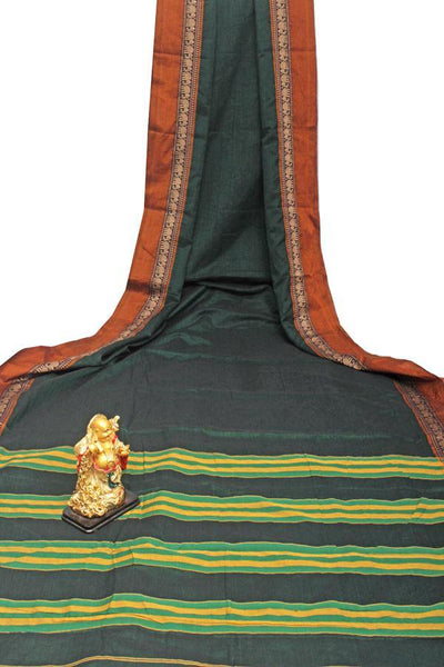 Narayanpet handloom cotton saree with an attached blouse material (71116A), Sarees - Swadeshi Boutique
