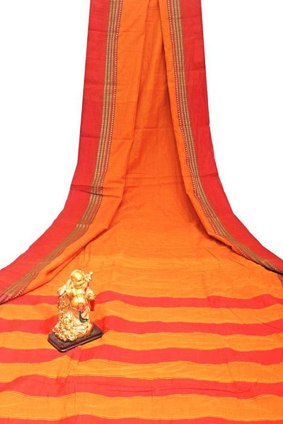 Narayanpet handloom cotton saree with an attached blouse material (71117A), Sarees - Swadeshi Boutique