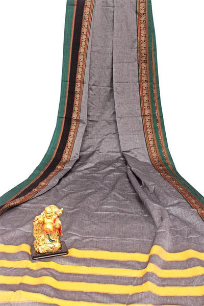Narayanpet handloom cotton saree with an attached blouse material (71118A), Sarees - Swadeshi Boutique