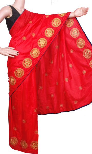 Pure Sana Silk (Two Tone) sarees with embroidery work - 73001A (Red), Sarees - Swadeshi Boutique