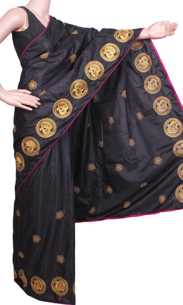 Pure Sana Silk (Two Tone) sarees with embroidery work - 73003A (Black), Sarees - Swadeshi Boutique