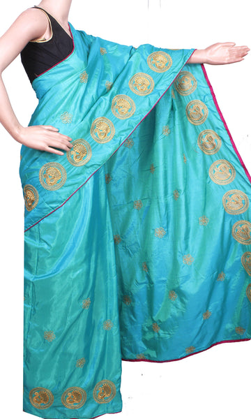 Pure Sana Silk (Two Tone) sarees with embroidery work - 73004A (Blue), Sarees - Swadeshi Boutique