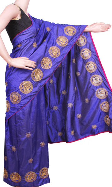 Pure Sana Silk (Two Tone) sarees with embroidery work - 73005A (Blue), Sarees - Swadeshi Boutique