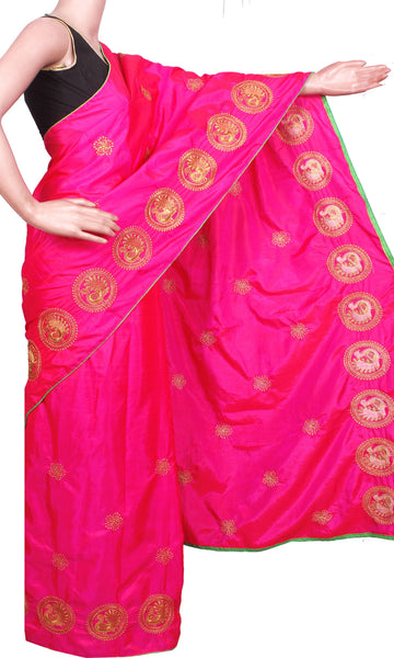 Pure Sana Silk (Two Tone) sarees with embroidery work - 73006A (Pink), Sarees - Swadeshi Boutique