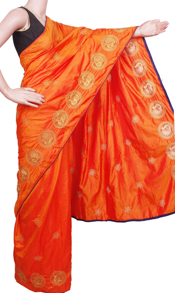 Pure Sana Silk (Two Tone) sarees with embroidery work - 73007A (Orange), Sarees - Swadeshi Boutique