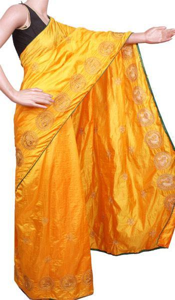 Pure Sana Silk (Two Tone) sarees with embroidery work - 73008A (Yellow)