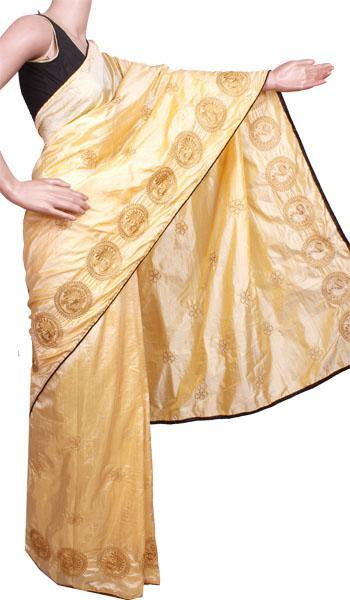 Pure Sana Silk (Two Tone) sarees with embroidery work - 73009A