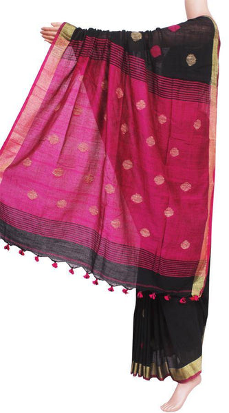 Khadi cotton saree with Ball putta design in all over body - 74005A, Sarees - Swadeshi Boutique