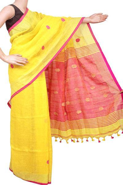 Khadi cotton saree with Ball putta design in all over body - 74022A, Sarees - Swadeshi Boutique