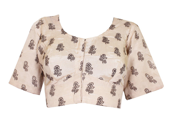 Kalamkari Crepe Silk Ready-made Blouse with mirror work - Beige (75002C) Size-42, Blouse - Swadeshi Boutique