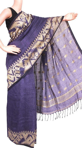 Linen Saree premium quality with beautiful Jamdhani Work  - 76007A * Rs.250 Off *