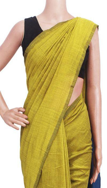 Beautiful Khadi pure cotton plain saree with vibrant color combination - 77005A *Intro Offer Rs.100 off*, Sarees - Swadeshi Boutique