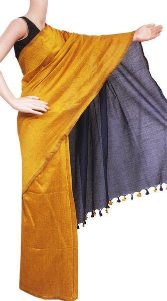 Khadi pure cotton plain saree with vibrant color combination - 77010A, Sarees - Swadeshi Boutique
