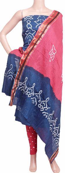 Bandhani cotton salwar materials (3 piece set) Blue & Pink - 81011C, Chudi - Swadeshi Boutique