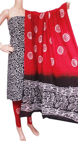 Cotton with Batik print (Bottom, Tops & Dhuppatta) - Salwar Set (3 piece material) - 82014A, Chudi - Swadeshi Boutique