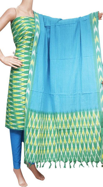 Ikat Cotton Salwar set material - 83017A (3 Piece - Tops, Bottom & Dhuppatta), Chudi - Swadeshi Boutique
