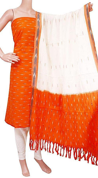 Ikat Cotton Salwar set material - 83031A (3 pc - Tops, Bottom & Dhuppatta), Chudi - Swadeshi Boutique