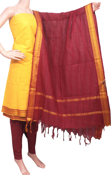 Mangalagiri Cotton Salwar set material - 84012A (3 pc - Tops, Bottom & Dhuppatta) * Intro Offer Rs.100 off *, Chudi - Swadeshi Boutique