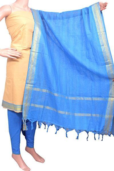 Mangalagiri Cotton Salwar set material - 84014A (3 pc - Tops, Bottom & Dhuppatta) * Intro Offer Rs.100 off *, Chudi - Swadeshi Boutique