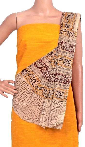 Kalamkari Cotton Salwar set material -  85009A (3 Piece - Plain Tops, Kalamkari Bottom, Dhuppatta), Chudi - Swadeshi Boutique