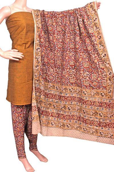 Kalamkari Cotton Salwar set material -  85013A (3 Piece - Plain Tops, Kalamkari Bottom, Dhuppatta), Chudi - Swadeshi Boutique