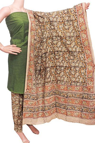 Kalamkari Cotton Salwar set material -  85034A (3 Piece - Plain Tops, Kalamkari Bottom, Dhuppatta), Chudi - Swadeshi Boutique