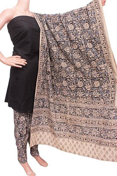 Kalamkari Cotton Salwar set material -  85035B (3 Piece - Plain Tops, Kalamkari Bottom, Dhuppatta), Chudi - Swadeshi Boutique