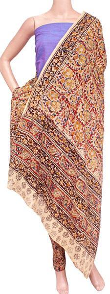 Kalamkari Cotton Salwar set material -  85036B (3 Piece - Plain Tops, Kalamkari Bottom, Dhuppatta), Chudi - Swadeshi Boutique