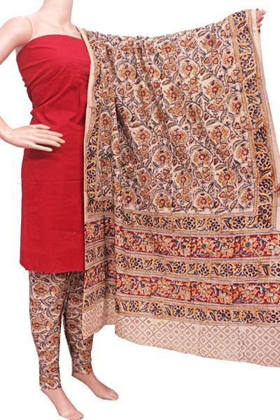 Kalamkari Cotton Salwar set material -  85037A (3 Piece - Plain Tops, Kalamkari Bottom, Dhuppatta), Chudi - Swadeshi Boutique