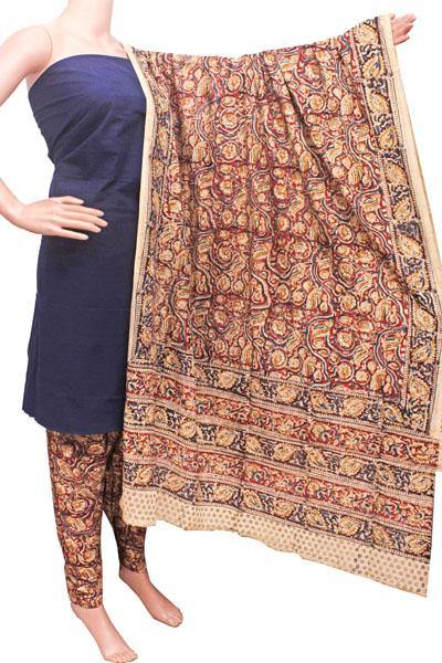 Kalamkari Cotton Salwar set material -  85039A (3 Piece - Plain Tops, Kalamkari Bottom, Dhuppatta), Chudi - Swadeshi Boutique