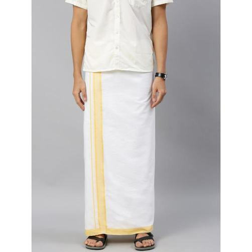 Men's Cotton Dhoti with attractive 1.5 inch border (Yellow) 3.8 meters - 93023A *SALE*, Dhoti - Swadeshi Boutique