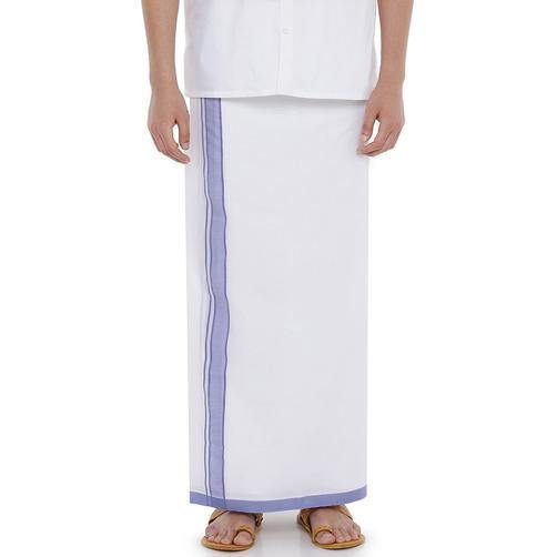 Men's Cotton Dhoti with attractive 1.5 inch border (Dark Violet) 3.8 meters - 93025A *SALE*, Dhoti - Swadeshi Boutique
