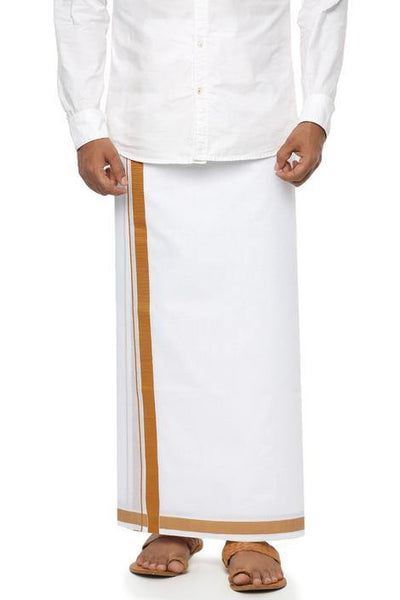 Men's Cotton Dhoti with attractive border (Mustard) 3.65 meters - 93035A *SALE*, Dhoti - Swadeshi Boutique