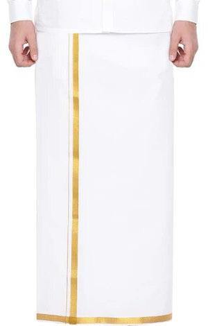 Men's Cotton Dhoti with attractive border (Gold Zari) 3.7 meters - 93012A *SALE*, Dhoti - Swadeshi Boutique