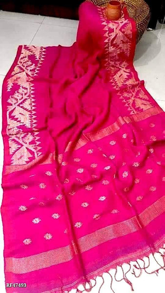 Linen Saree premium quality with beautiful Jamdhani Work  - 76006A *New arrival*, Sarees - Swadeshi Boutique