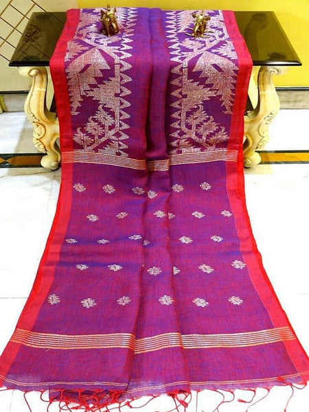 Linen Saree premium quality with beautiful Jamdhani Work  - 76005A * New Arrival *, Sarees - Swadeshi Boutique