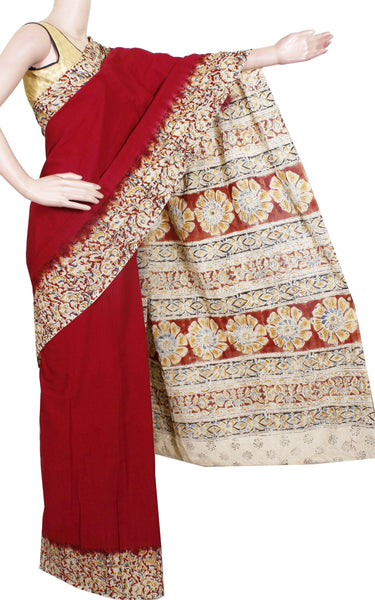 * Rs.100 off * Kalamkari naturally dyed saree a beautiful blouse design [Maroon] - Premium cotton(32009A)