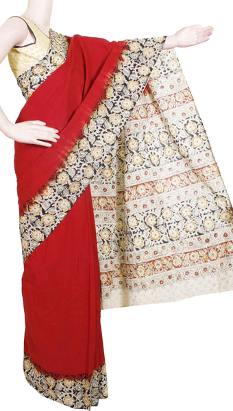 Kalamkari dyed saree with Beautiful  Pallu [Maroon] - Premium cotton(32010A)