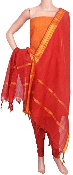 Mangalagiri Cotton Salwar set material - 84003A (3 pc - Tops, Bottom & Dhuppatta) * Intro Offer Rs.100 off *