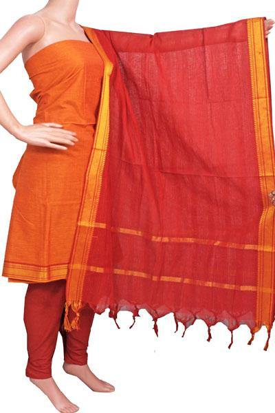 Mangalagiri Cotton Salwar set material - 84003A (3 pc - Tops, Bottom & Dhuppatta) * Intro Offer Rs.50 off *